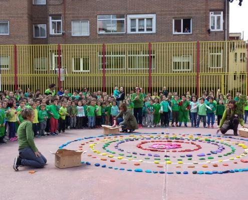 Mandala con Huerteco en el colegio Solar del Cid